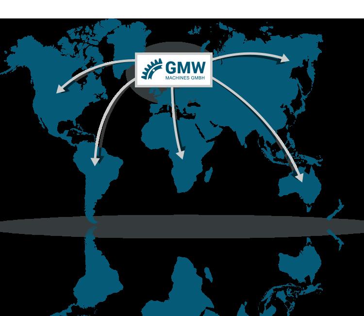 Grafik Unternehmen GMW weltweite Standorte